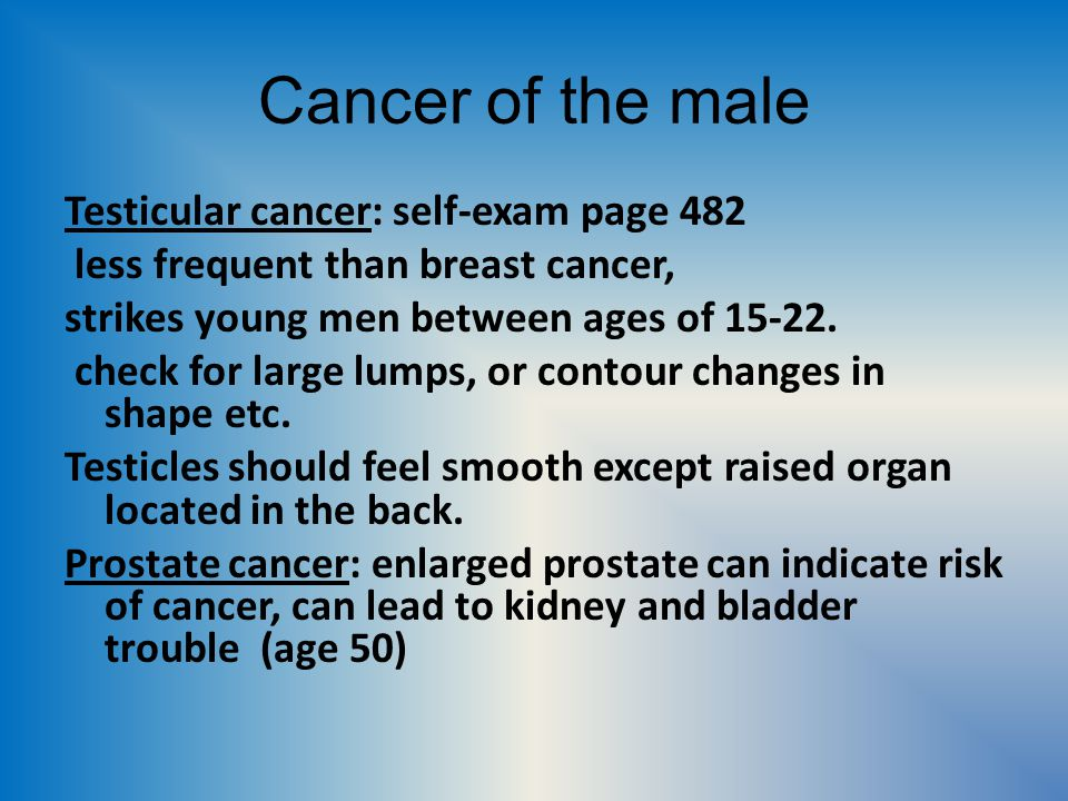 Cancer of the male