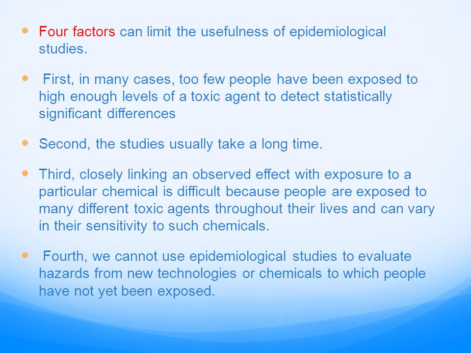 Four factors can limit the usefulness of epidemiological studies.