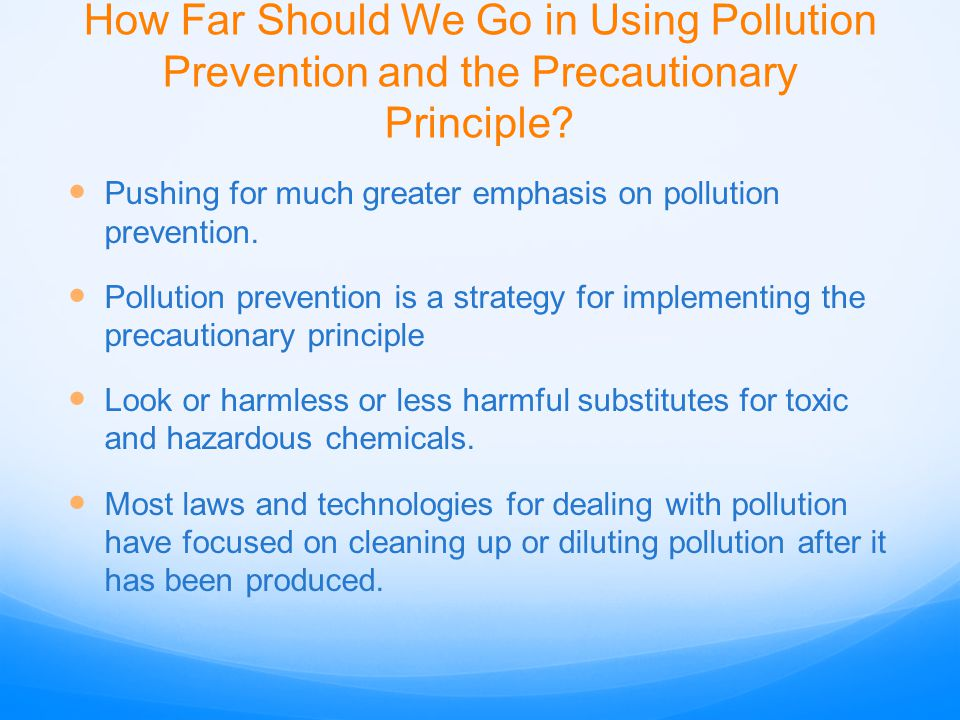 How Far Should We Go in Using Pollution Prevention and the Precautionary Principle