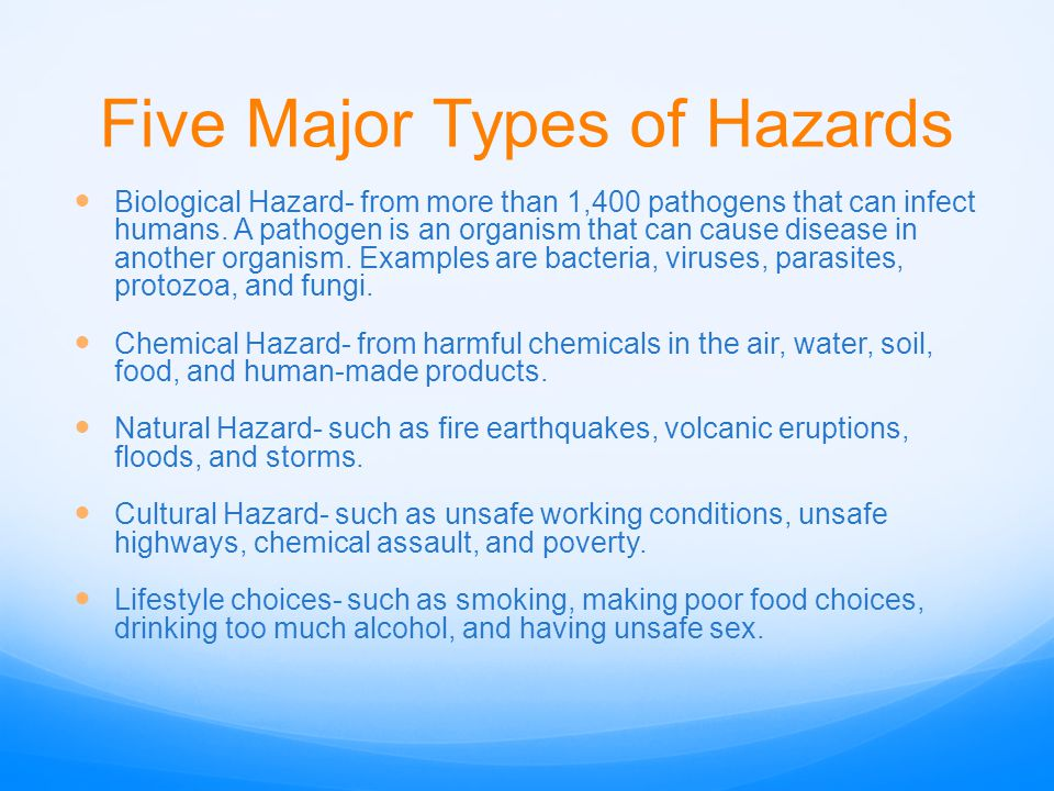 Five Major Types of Hazards