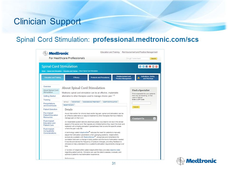 Spinal Cord Stimulation: professional.medtronic.com/scs