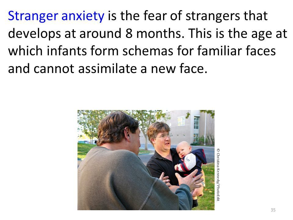 Stranger anxiety is the fear of strangers that develops at around 8 months. This is the age at which infants form schemas for familiar faces and cannot assimilate a new face.