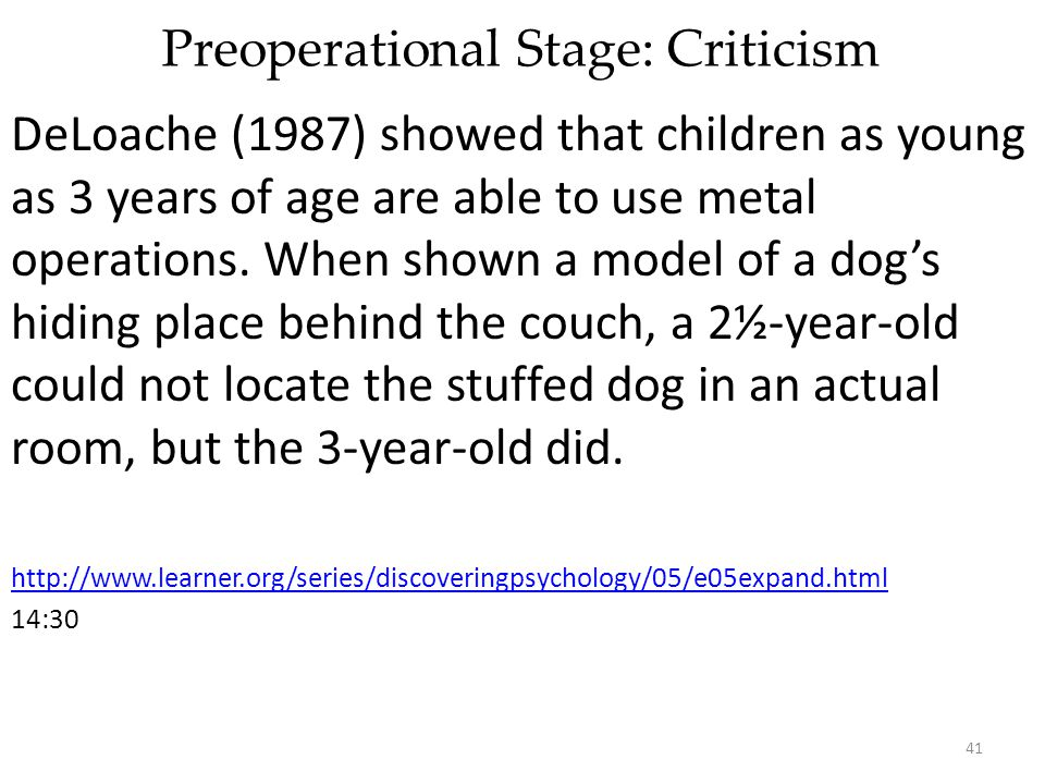 Preoperational Stage: Criticism