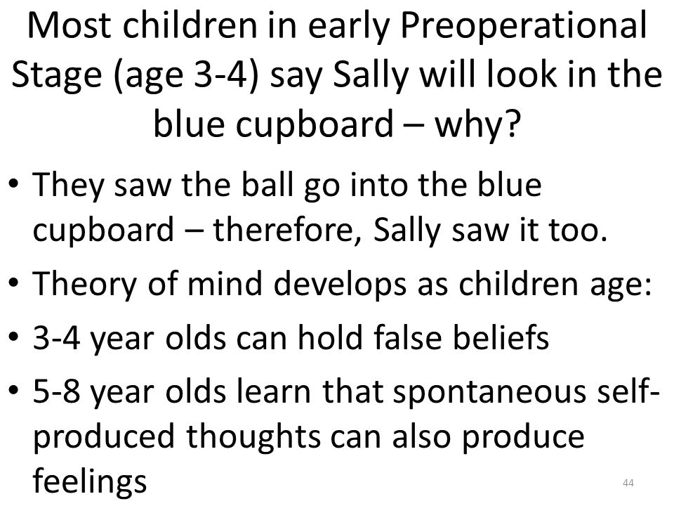 Most children in early Preoperational Stage (age 3-4) say Sally will look in the blue cupboard – why