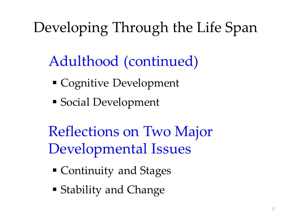 development through life stages Cognition through the lifespan individual- developmental stage - environment the interrelationships between the individual, the developmental stage and the environment are extremely important cognitive development theorists.