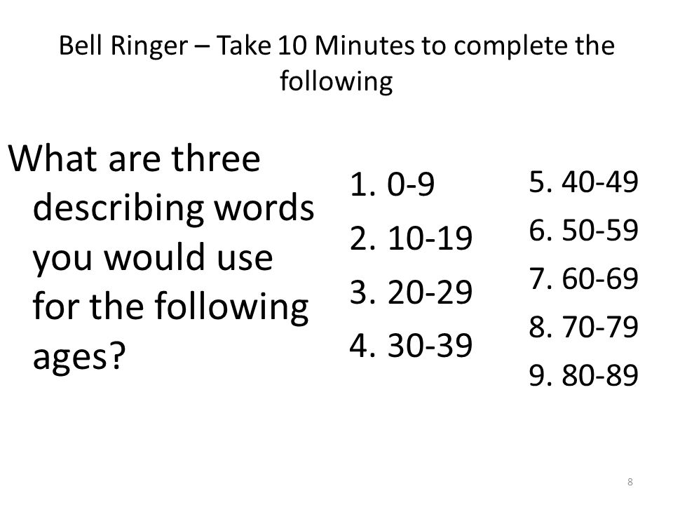 Bell Ringer – Take 10 Minutes to complete the following