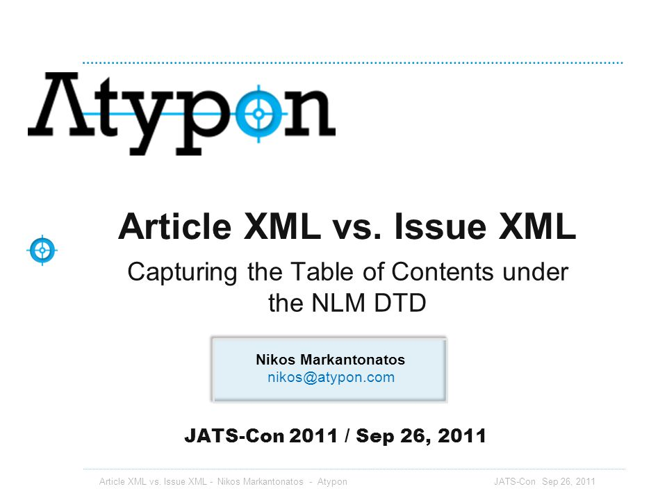 Article XML vs. Issue XML