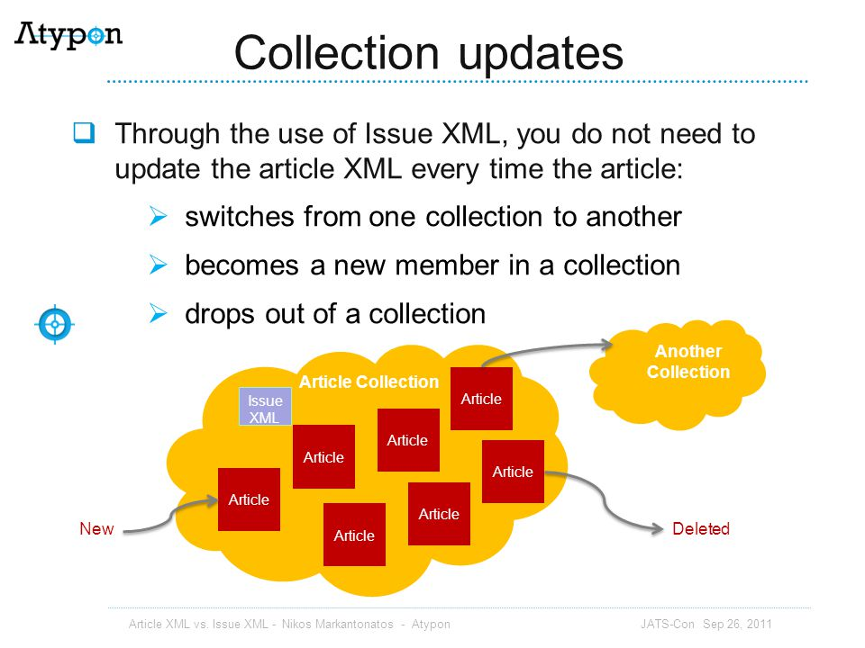 Collection updates Through the use of Issue XML, you do not need to update the article XML every time the article: