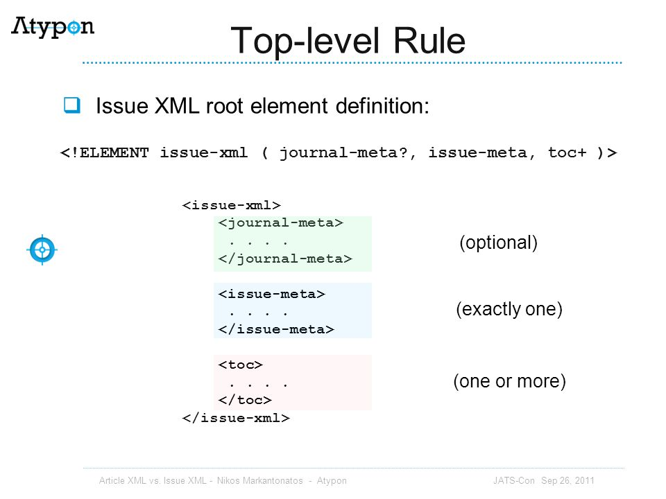 Top-level Rule Issue XML root element definition: (optional)