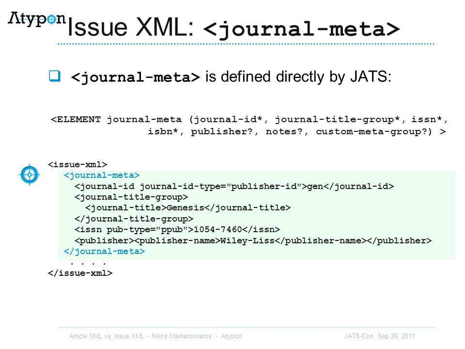 Issue XML: <journal-meta>