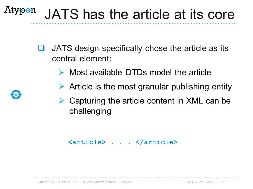 JATS has the article at its core