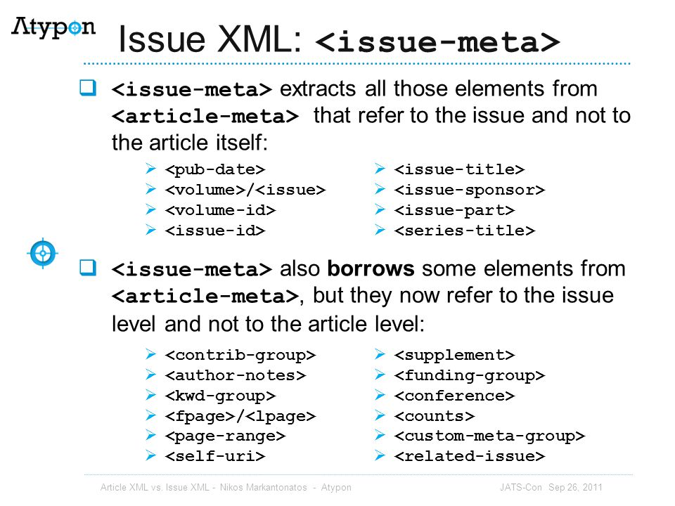 Issue XML: <issue-meta>
