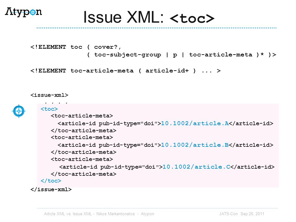Issue XML: <toc>