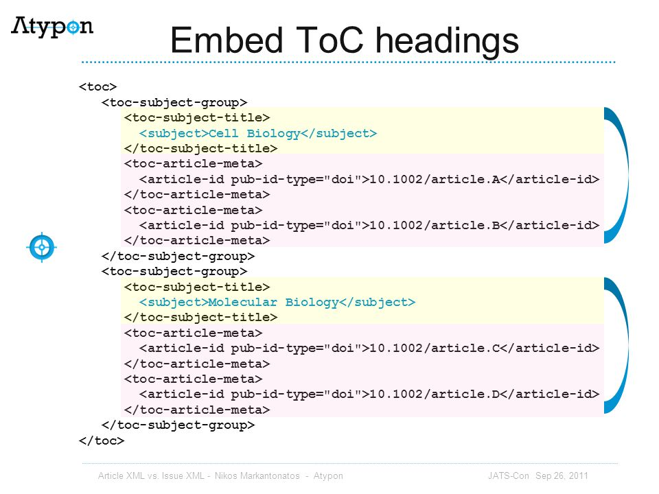 Embed ToC headings <toc> <toc-subject-group>