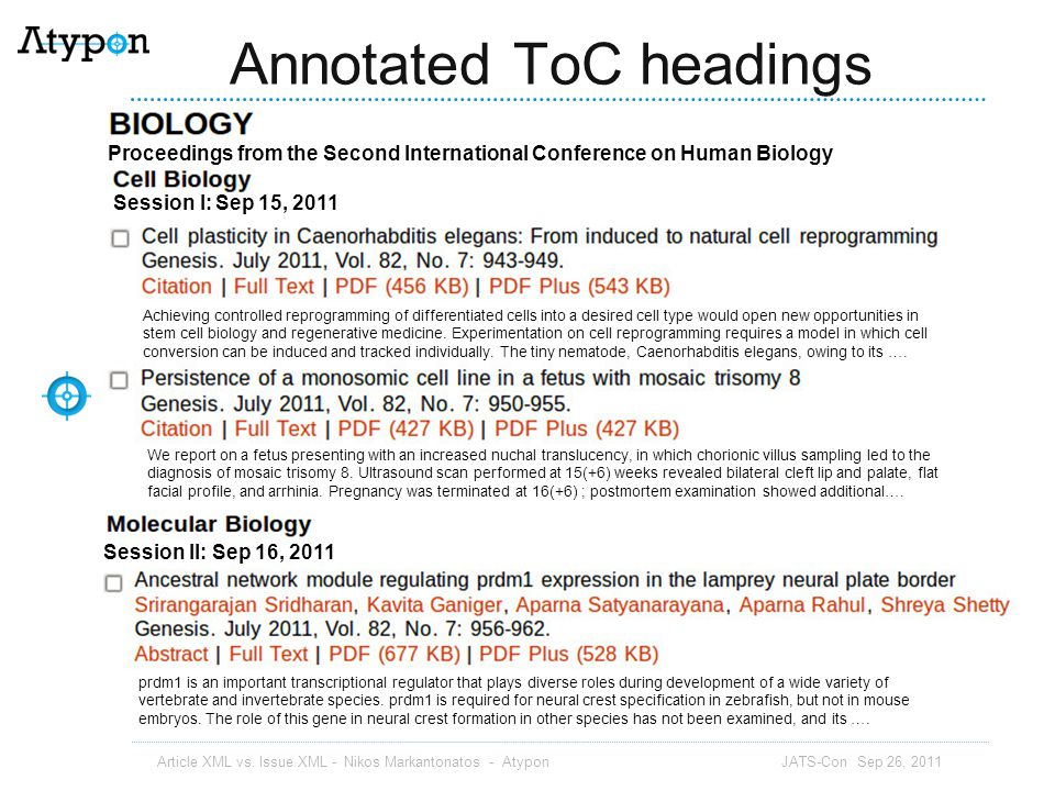 Annotated ToC headings