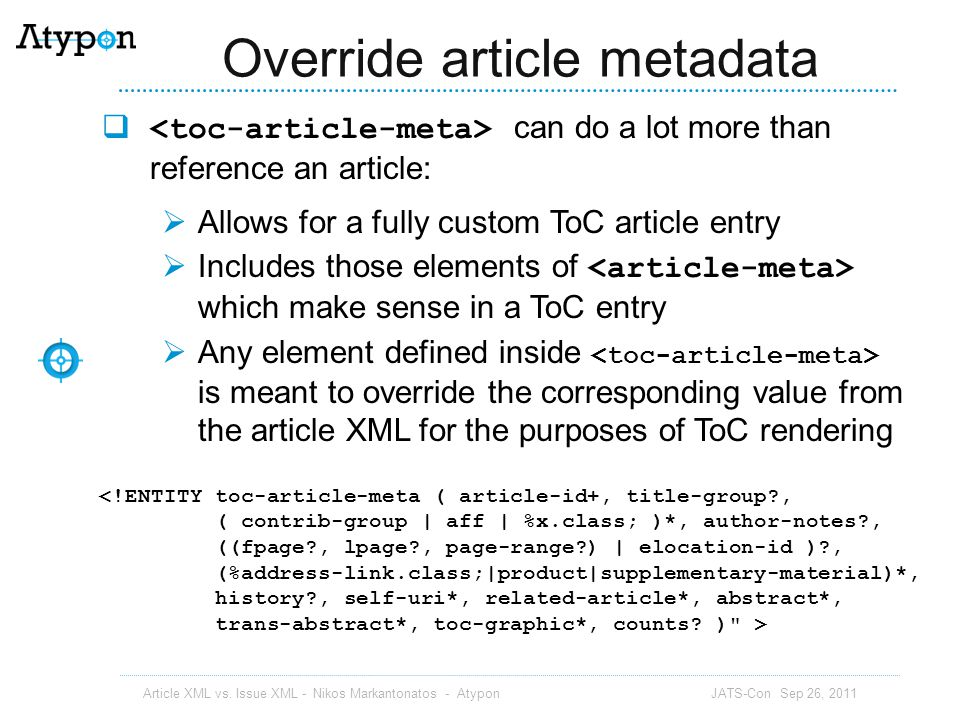 Override article metadata