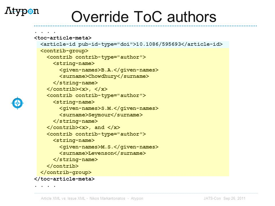 Override ToC authors . . . . <toc-article-meta>