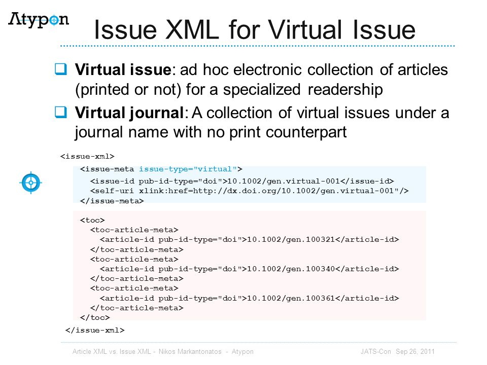 Issue XML for Virtual Issue