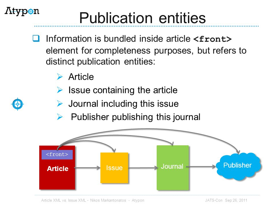 Publication entities Information is bundled inside article <front> element for completeness purposes, but refers to distinct publication entities: