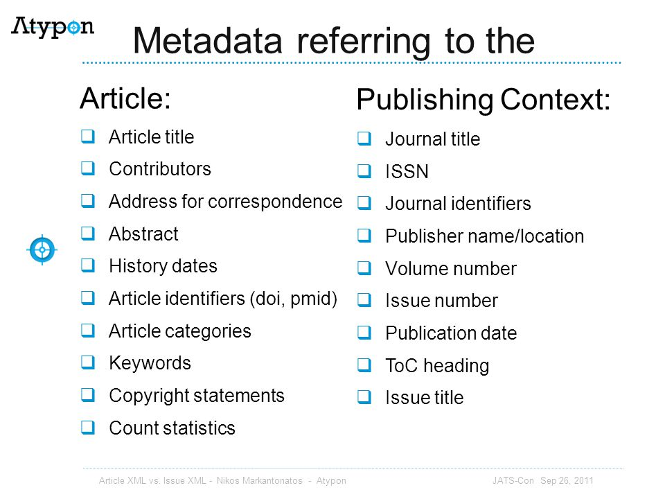 Metadata referring to the