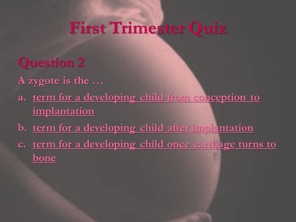First Trimester Quiz Question 2 A zygote is the …