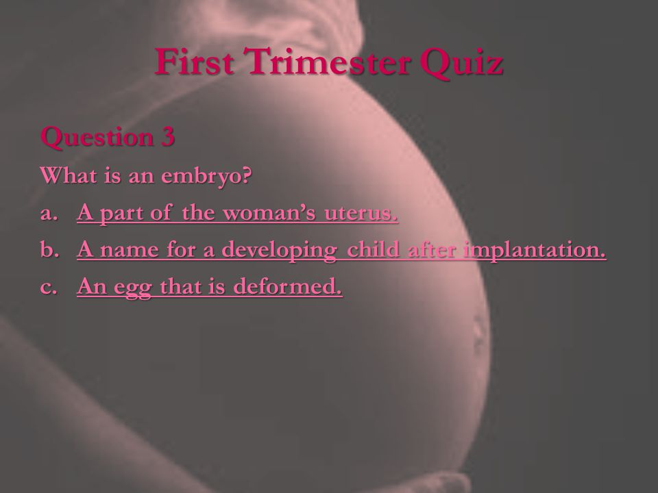 First Trimester Quiz Question 3 What is an embryo
