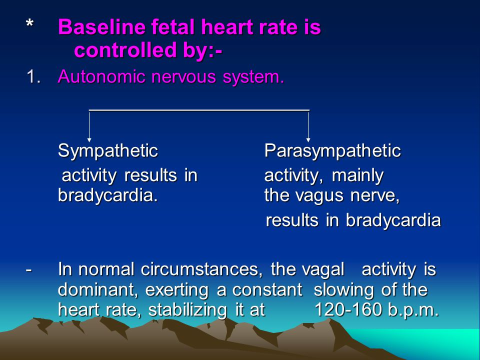 * Baseline fetal heart rate is controlled by:-