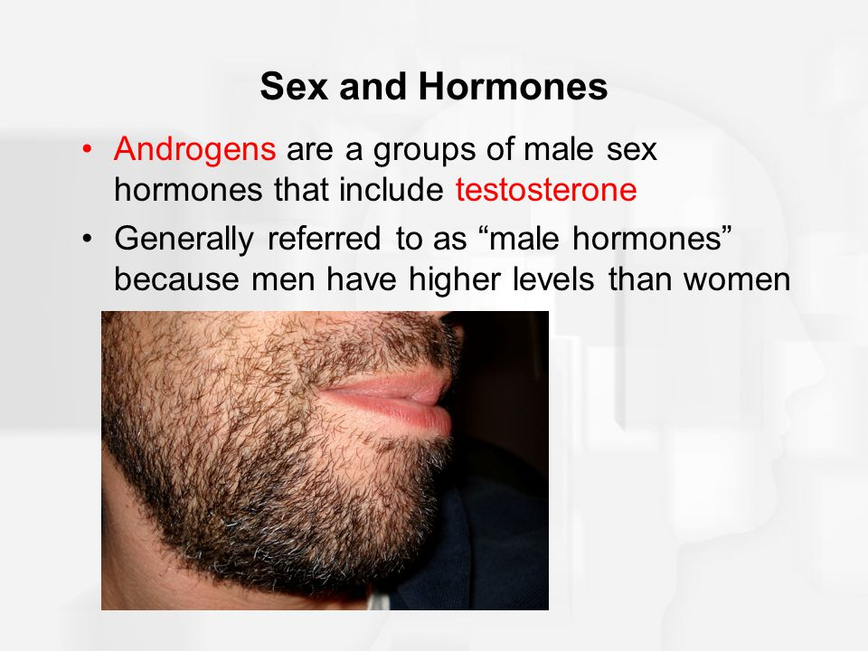 Sex and Hormones Androgens are a groups of male sex hormones that include testosterone.