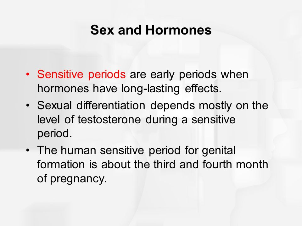 Sex and Hormones Sensitive periods are early periods when hormones have long-lasting effects.