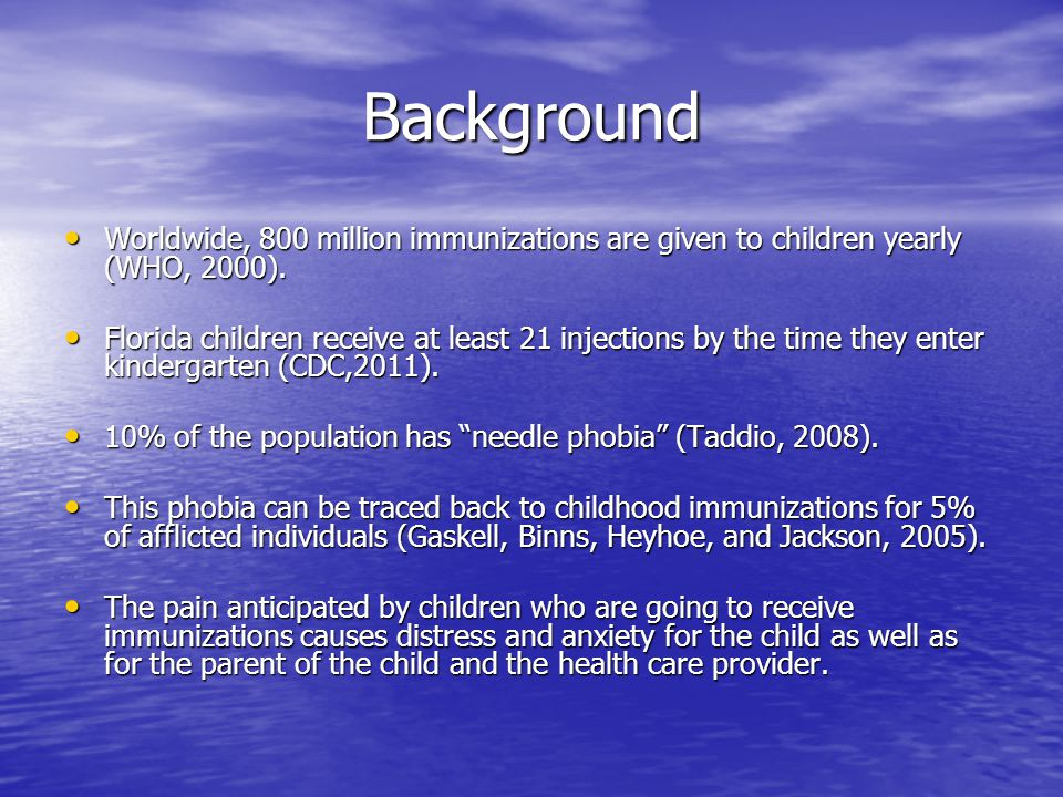 Background Worldwide, 800 million immunizations are given to children yearly (WHO, 2000).