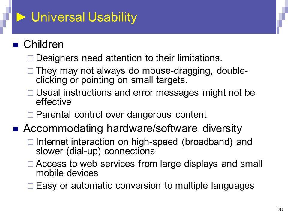 ► Universal Usability Children