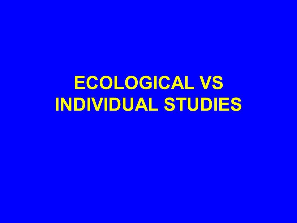 ECOLOGICAL VS INDIVIDUAL STUDIES