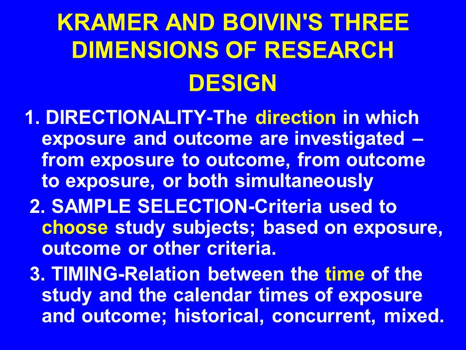 KRAMER AND BOIVIN S THREE DIMENSIONS OF RESEARCH DESIGN