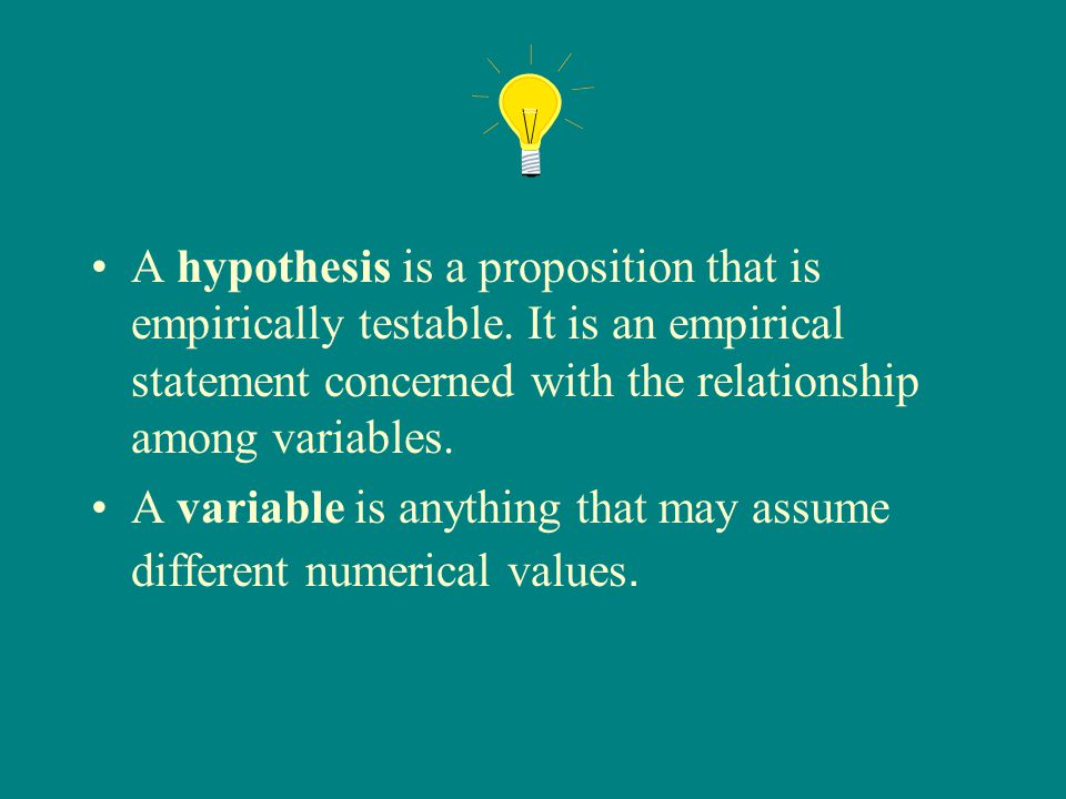 A hypothesis is a proposition that is empirically testable