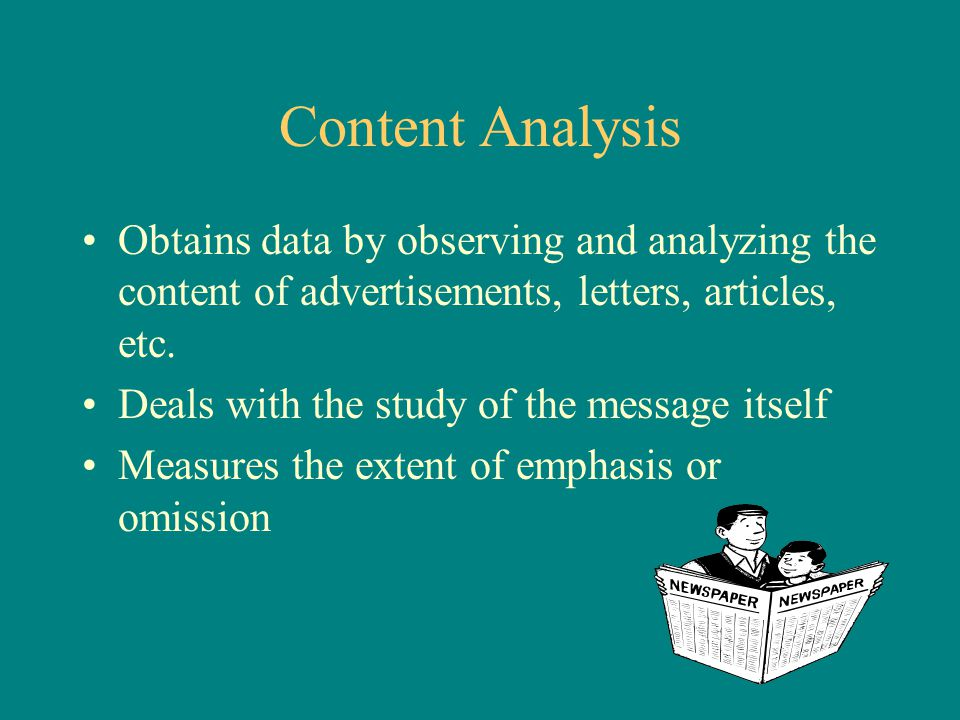 Content Analysis Obtains data by observing and analyzing the content of advertisements, letters, articles, etc.