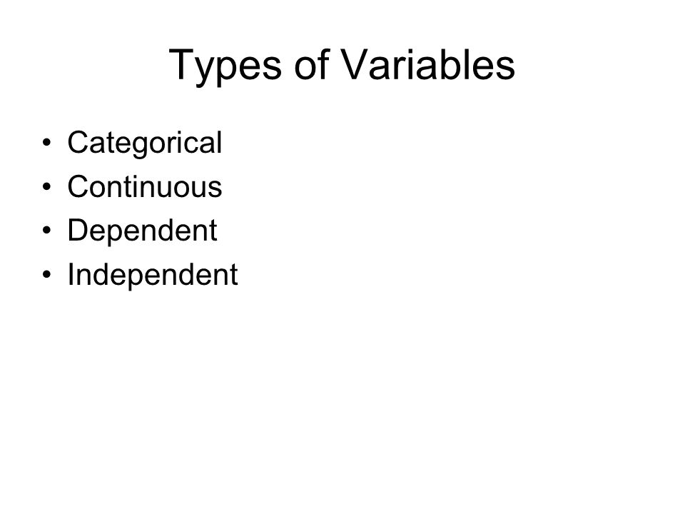 Types of Variables Categorical Continuous Dependent Independent