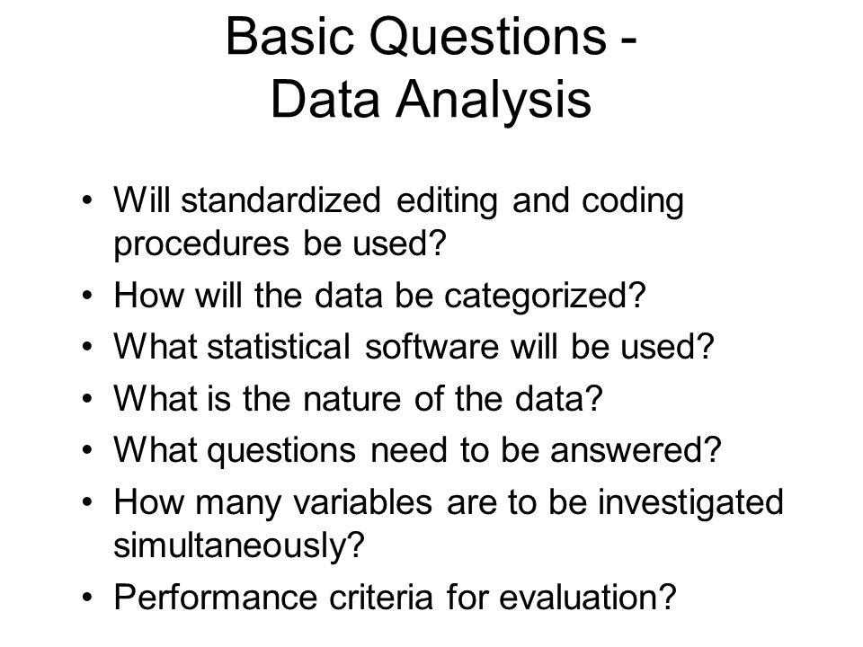 Basic Questions - Data Analysis