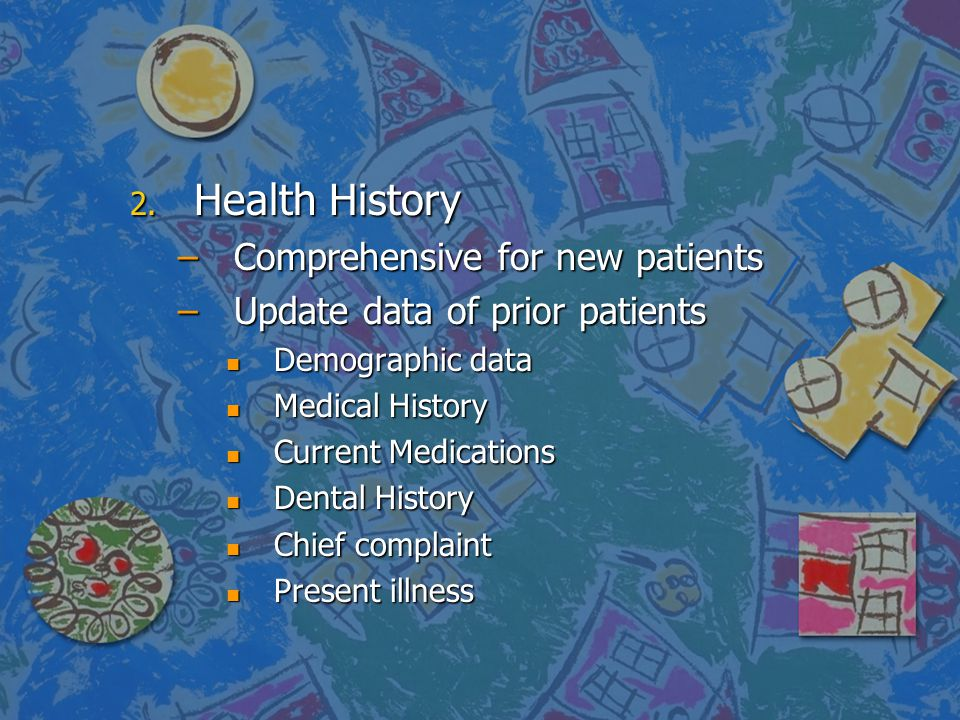 Health History Comprehensive for new patients