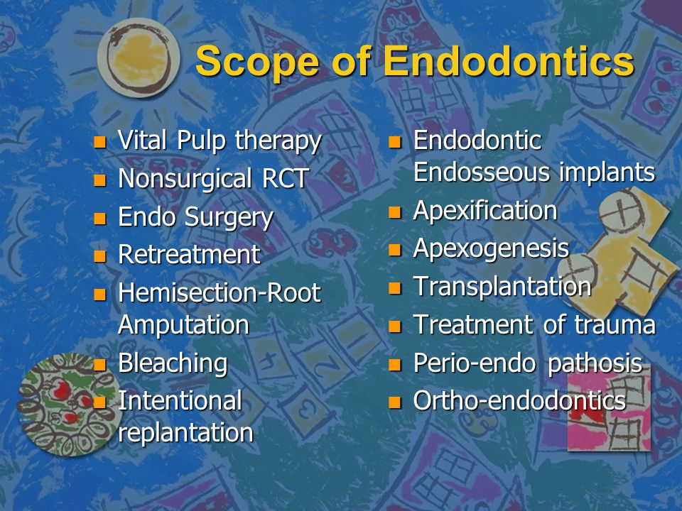 Scope of Endodontics Vital Pulp therapy Nonsurgical RCT Endo Surgery
