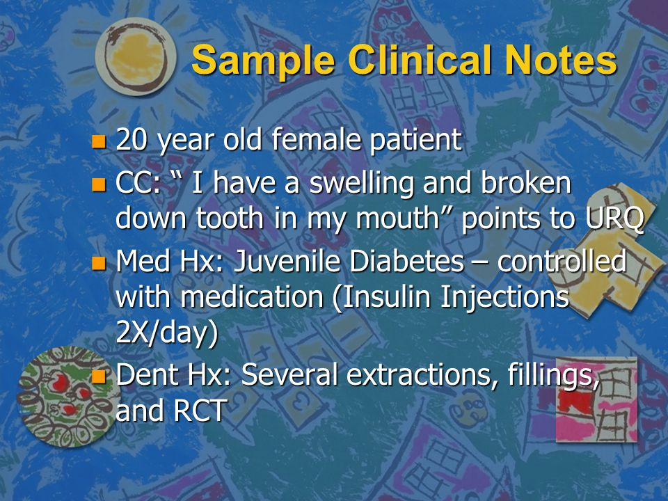 Sample Clinical Notes 20 year old female patient