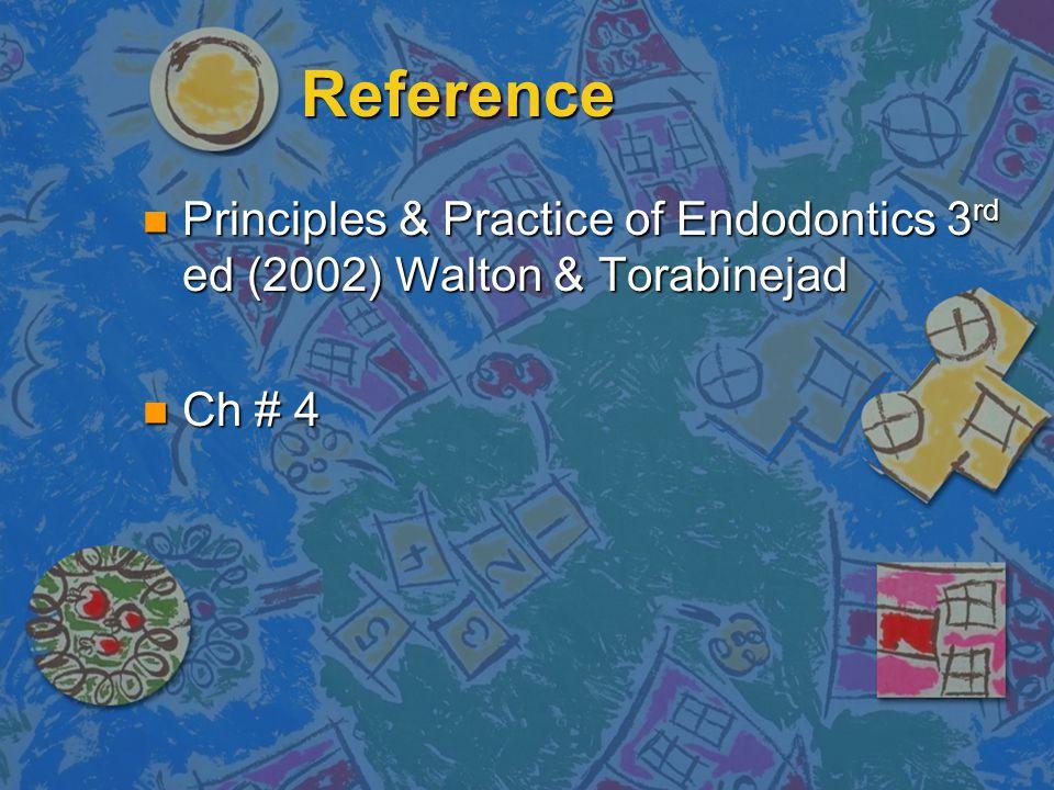 Reference Principles & Practice of Endodontics 3rd ed (2002) Walton & Torabinejad Ch # 4