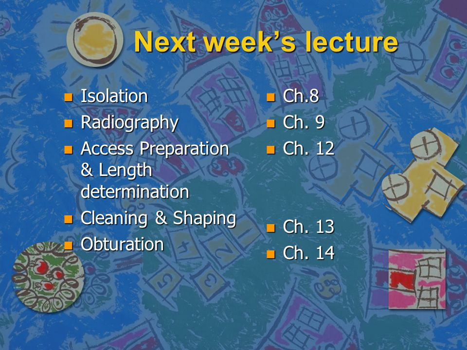 Next week's lecture Isolation Radiography