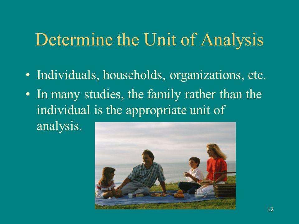Determine the Unit of Analysis