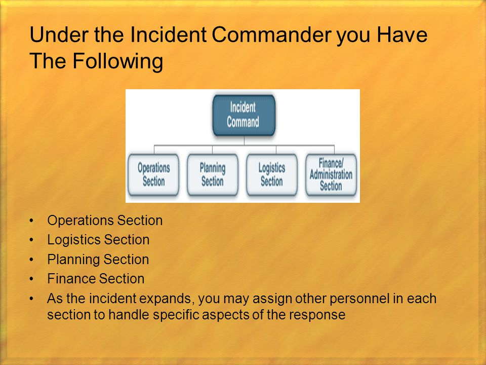 Under the Incident Commander you Have The Following