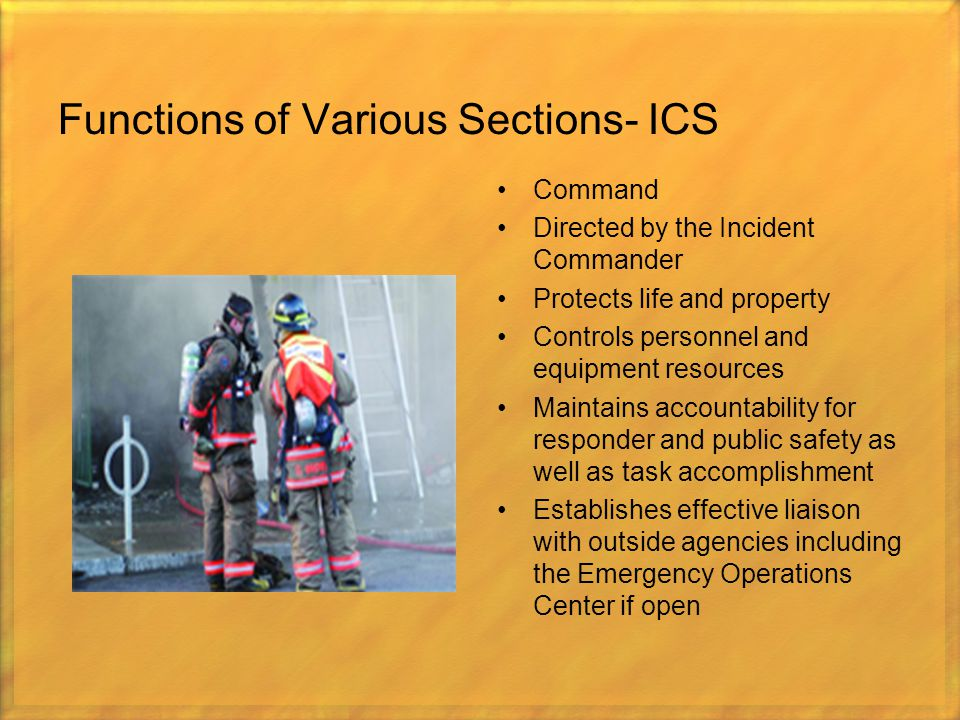 Functions of Various Sections- ICS