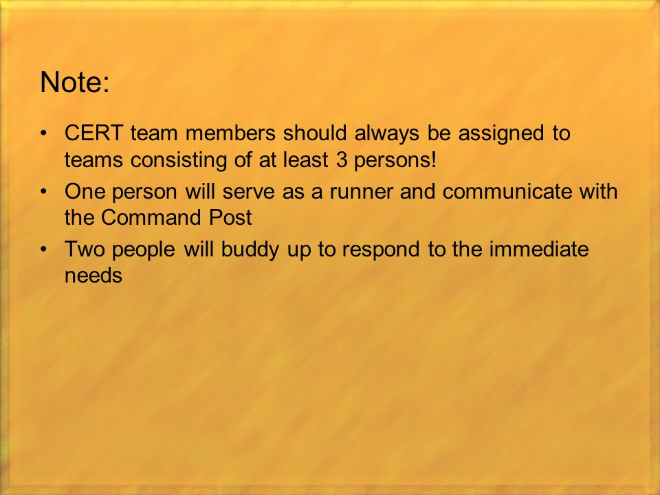 Note: CERT team members should always be assigned to teams consisting of at least 3 persons!