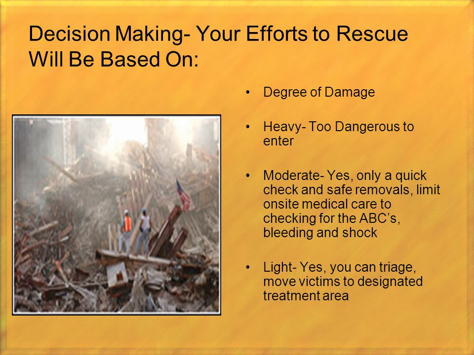 Decision Making- Your Efforts to Rescue Will Be Based On: