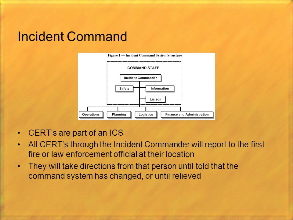 Incident Command CERT's are part of an ICS