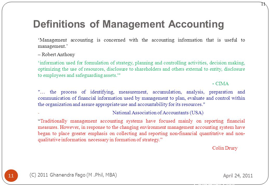 Definitions of Management Accounting