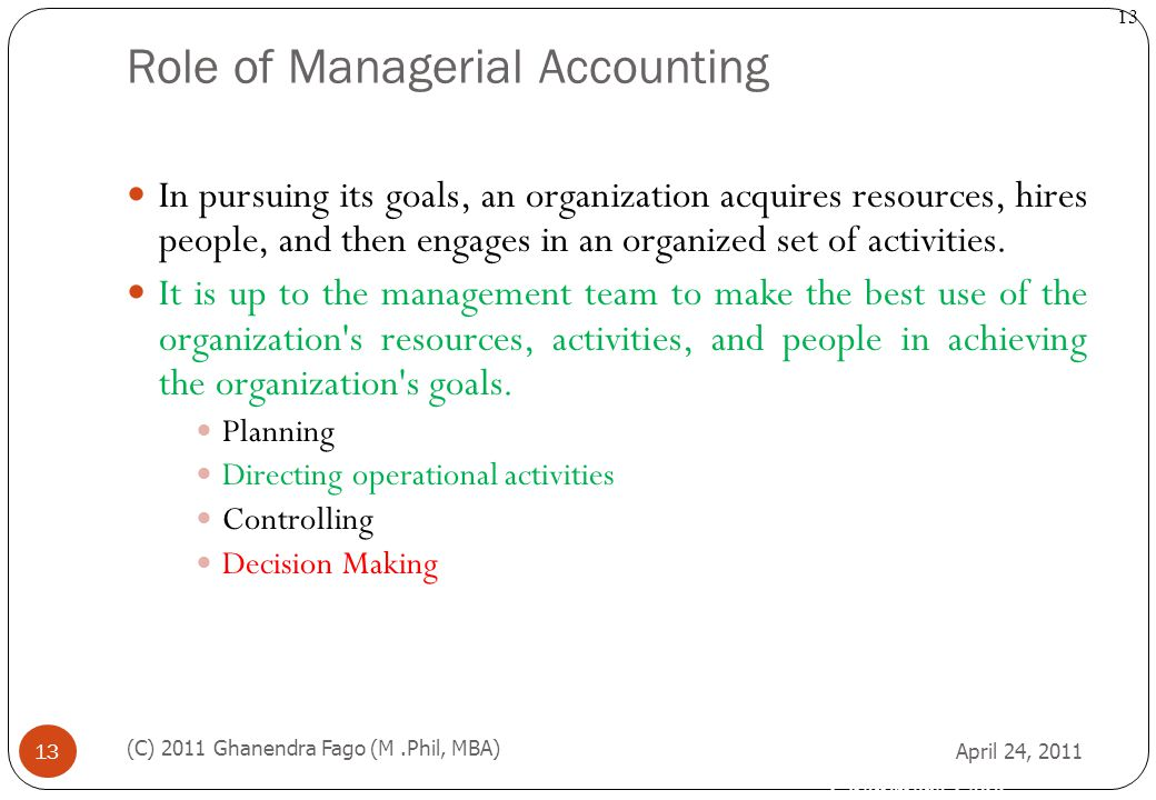 Role of Managerial Accounting